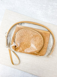 Cosmetic Clear Pouch Bags Set of 3 - Cork