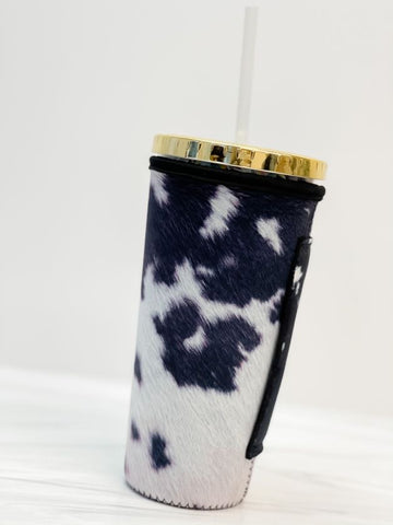 Insulated Cold Cup Sleeve with Handle - Cow Print