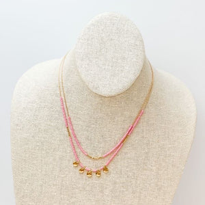 Layered Seed Bead Charm Necklace - Pink