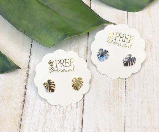 Dainty Palm Leaf Studs - Choice of Color