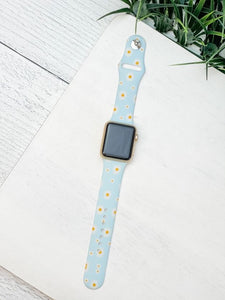 Daisy Printed Silicone Smart Watch Band - Blue M/L