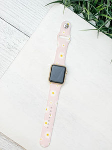 Daisy Printed Silicone Smart Watch Band - Pink M/L