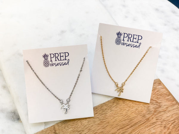 Dainty Palm Pendant Necklaces