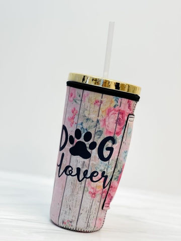 Insulated Cold Cup Sleeve with Handle - Dog Lover