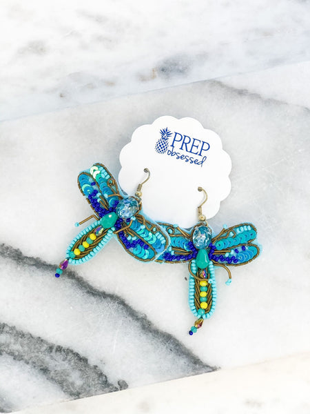 Beaded Dragonfly Statement Earrings