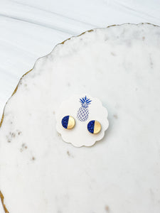 Gold Druzy Stud Earrings - Navy Blue
