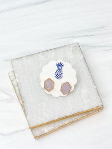 Hexagon Druzy Stud Earrings - Lavender