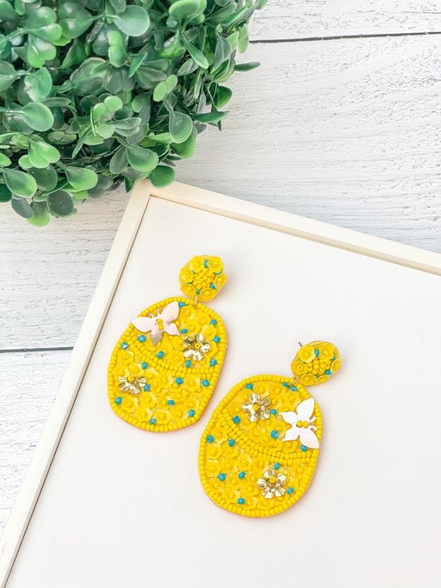 Easter Egg Seed Bead Statement Earrings - Yellow