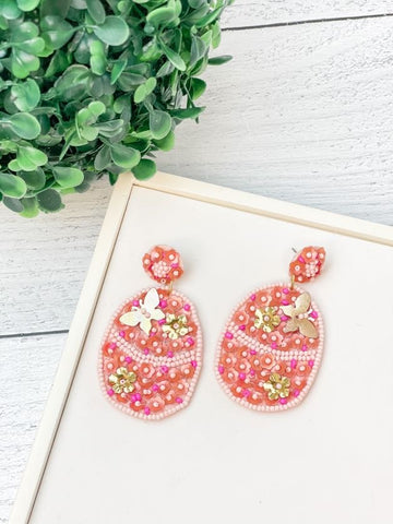 Easter Egg Seed Bead Statement Earrings - Pink