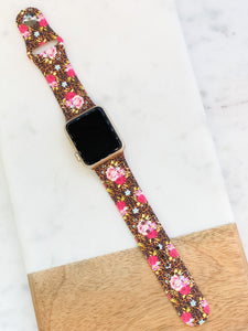 Leopard & Roses Printed Silicone Watch Band