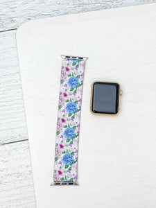 Blue Floral Print Stretch Watch Band