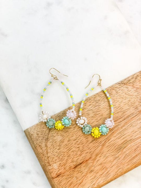 Glass Beaded Flower Dangle Earrings