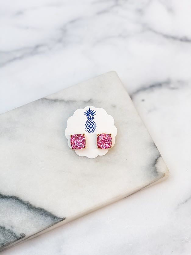Square Glitter Stud Earrings - Pink Glitter
