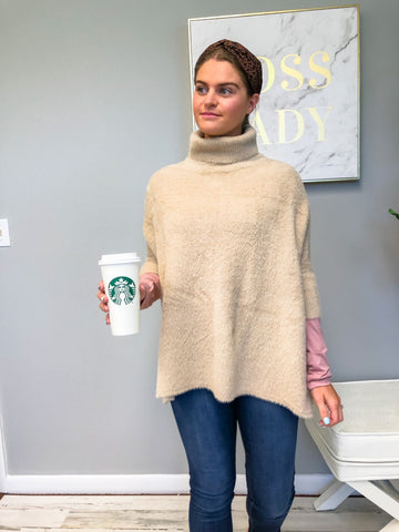 Cozy Turtleneck Poncho Sweater - Khaki