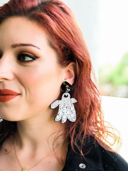 Ghost Beaded Dangle Earrings