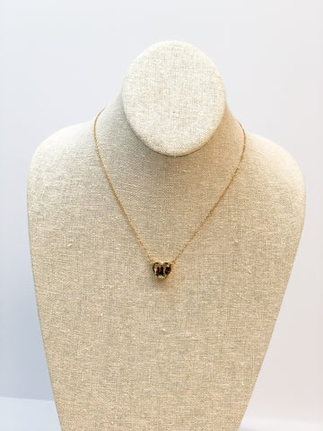 Glitter Heart Pendant Necklace - Gold Leopard