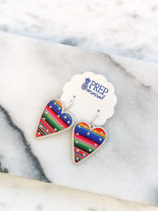Glitzy Serape Heart Dangle Earring