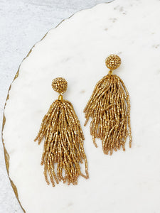 Seed Bead Tassel Earrings - Gold