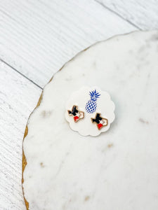 Gold Enamel State of Texas Stud Earrings