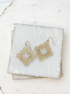 Two Tone Filigree Dangle Earrings