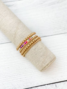 Gold Beaded Stretch Bracelet Stack  - White