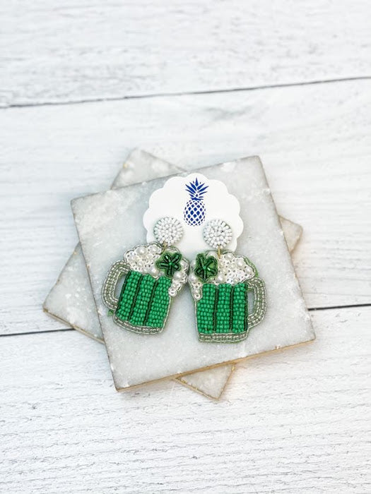 Green Beer Beaded Statement Earrings