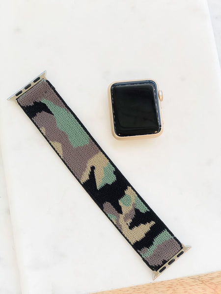 Green Camouflage Stretch Watch Band