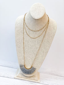 Layered Fringe Statement Long Necklace - Grey