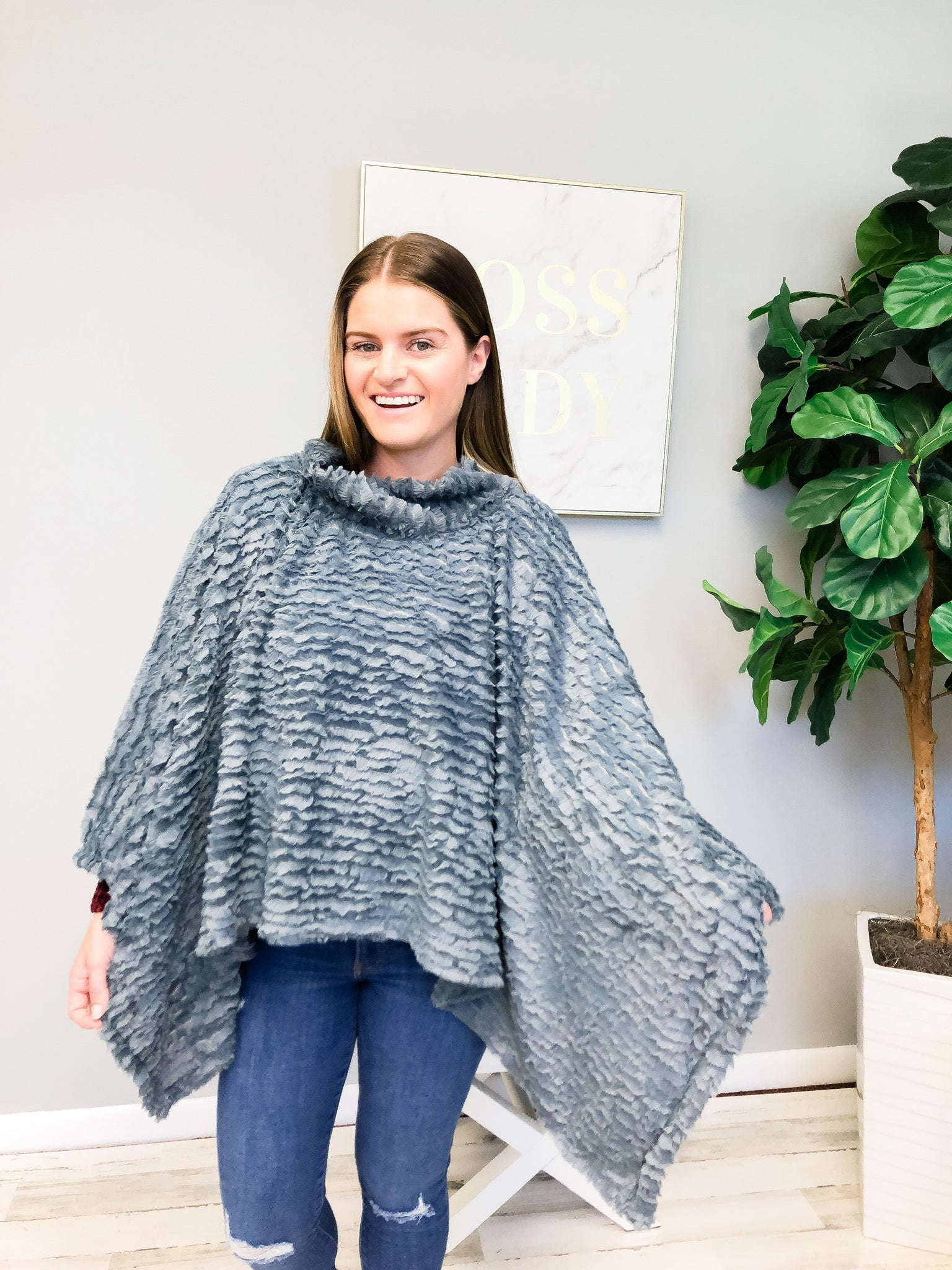 Soft Faux Fur Winter Poncho - Grey