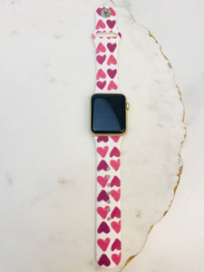 Pink Heart Printed Silicone Smart Watch Band - White S/M