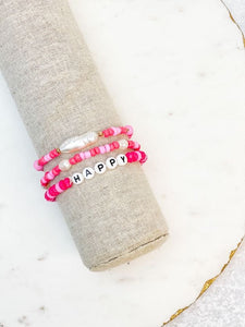 'Happy' Stretch Pearl Beaded Bracelet Set