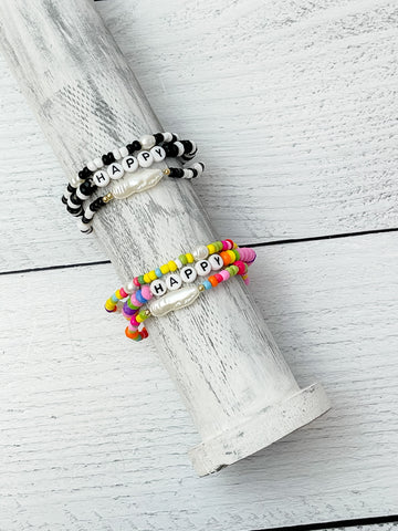 'Happy' Stretch Bracelet Stacks