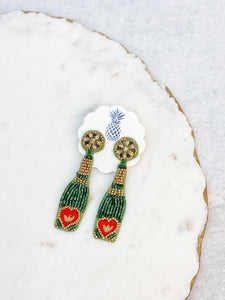 Wine Bottle Beaded Dangle Earrings - Green Heart