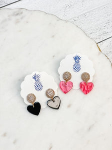 Acrylic Heart Dangle Earrings
