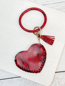 Snakeskin Heart Zip Pouch Key Ring Bangle - Red