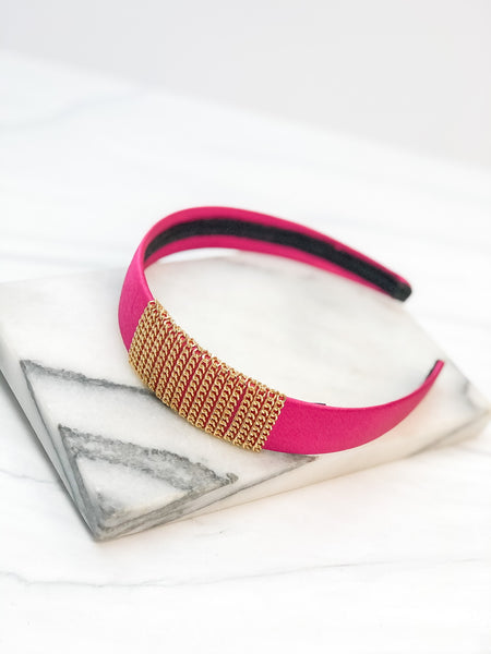 Satin Gold Chain Headband - Fuchsia