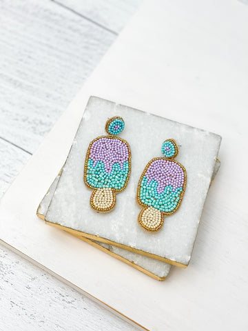 Beaded Ice Cream Dangle Earrings - Purple