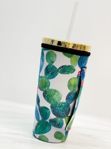 Insulated Cold Cup Sleeve with Handle - Cactus