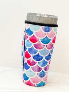 Insulated Cold Cup Sleeve with Handle - Mermaid Scales