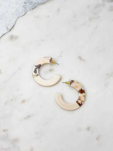 Resin Hoop Earrings - Ivory