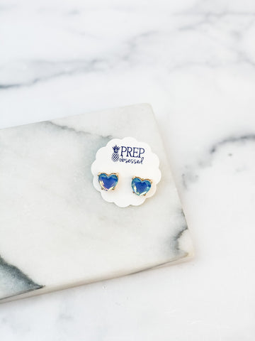 Heart Jewel Stud Earrings - Blue
