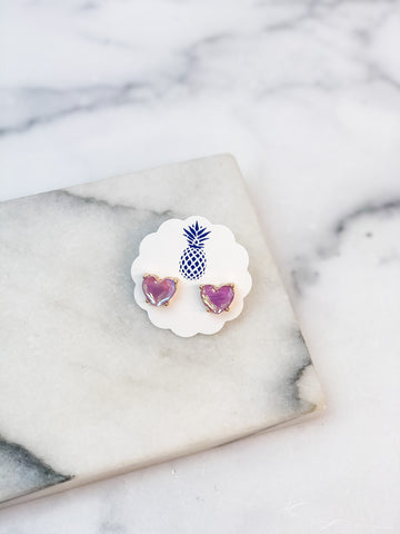 Heart Jewel Stud Earrings - Lavender