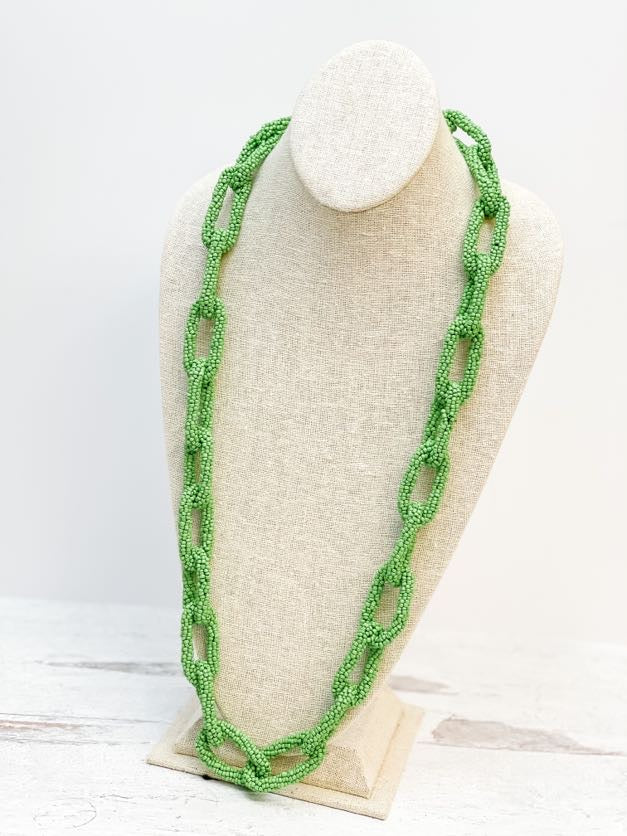 Seed Bead Link Long Necklace - Green