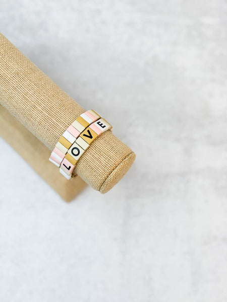 'LOVE' Enamel Tile Stretch Bracelet Stacks
