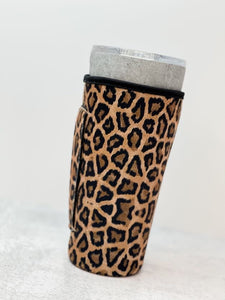 Insulated Cold Cup Sleeve with Handle - Brown Leopard