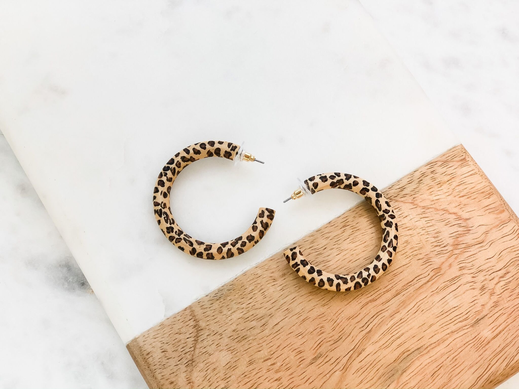 Wood Leopard Hoop Earrings
