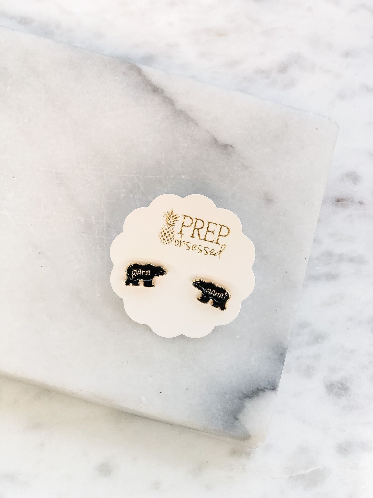 'Mama Bear' Enamel Stud Earrings
