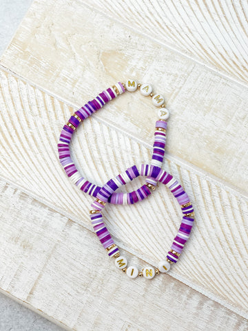 Mama + Mini Stretch Bracelet Set - Purple