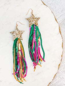 Mardi Gras Glitter & Sequin Star Statement Earrings