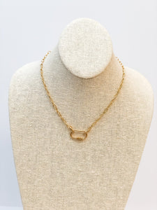 Carabiner Lock Link Necklace - Matte Gold